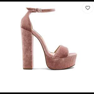 Steve Madden Gonzo V Velvet Platform Sandals Blush
